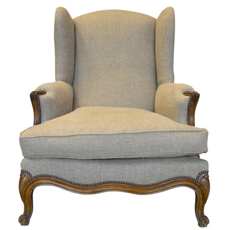 19th century french louis xv style wingback bergere chair at 1stdibs