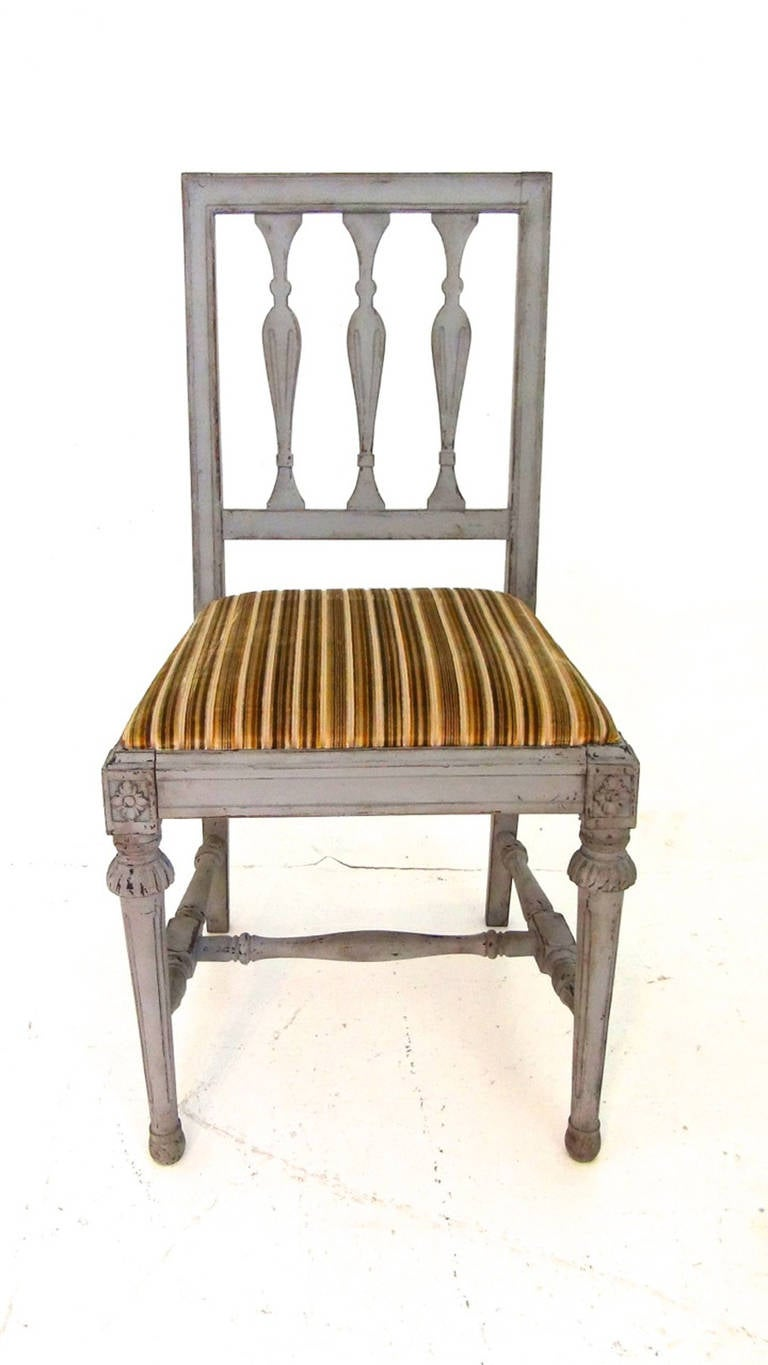 Set of six swedish gustavian style dining chairs at 1stdibs for Swedish style dining chairs