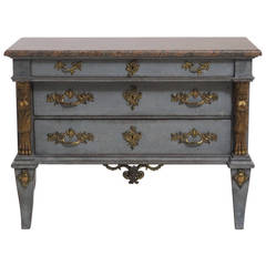 Swedish Chest of Drawers with Marble Top and Giltwood Detail, 19th Century