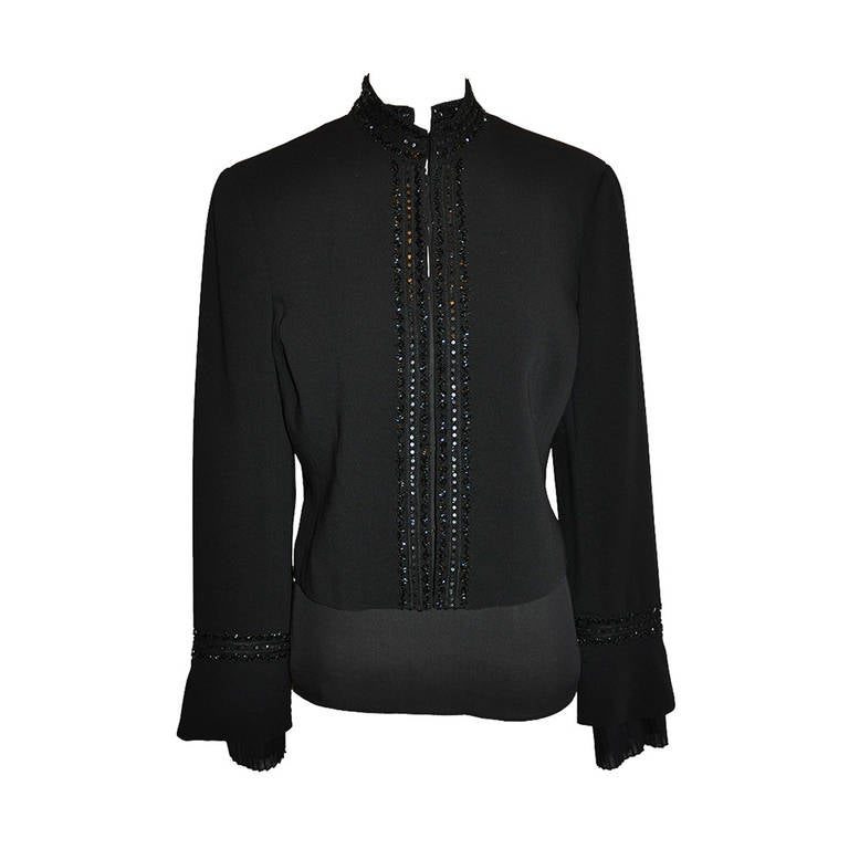 Oscar de la Renta Black Poet's Blouse and Matching Open Black Jacket