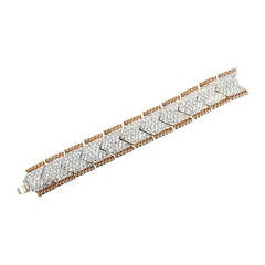 Bergdorf Goodman Vintage One of a Kind Glamorous Pave Crystal Gilt Bracelet