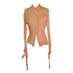 Roberto Cavalli Multi-Color Silk Chiffon with Cuff Ties Blouse