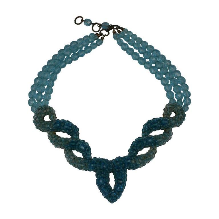 Coppola e Toppo for Schiaparelli Aquamarine Crystal Necklace For Sale