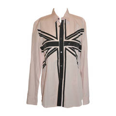 Comme des Garcons Men's Pink with Silk-Screen Front Shirt