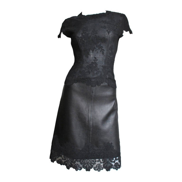 Gianni Versace Leather & Lace Dress 1