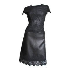1990s Gianni Versace Leather & Lace Dress