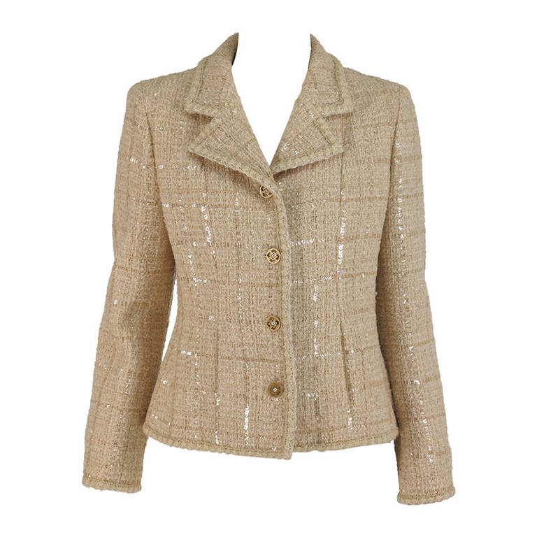 2001 Chanel cream tweed & sequin jacket For Sale