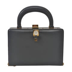 1960s Gray Leather Watch Bag