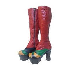 1970s Incredible Glam Rock Leather Platform Boots Made in Italy
