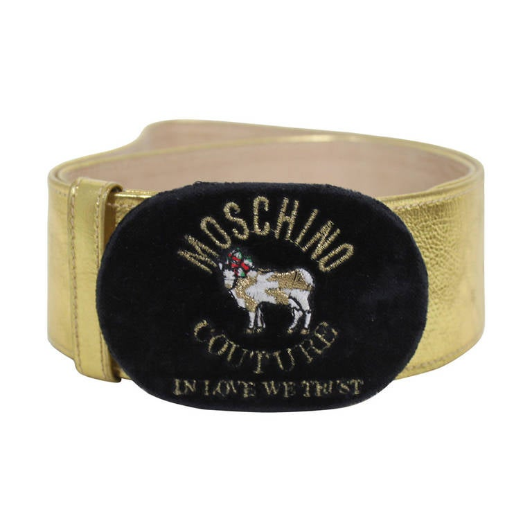 Moschino 1990s Velvet Buckle Gold Leather Belt  1