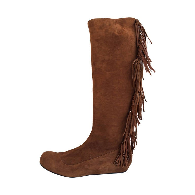 lanvin brown suede fringed boots at 1stdibs