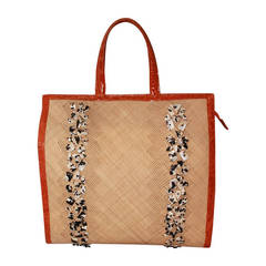 Nancy Gonzalez Beaded Raffia & Orange Croc Handbag