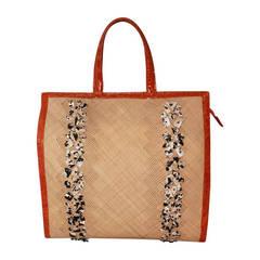 Nancy Gonzalez Beaded Raffia & Orange Croc Handbag