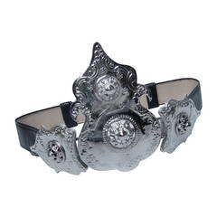 ALEXIS KIRK Massive Ornate Silver Metal Black Leather Belt ca 1980s