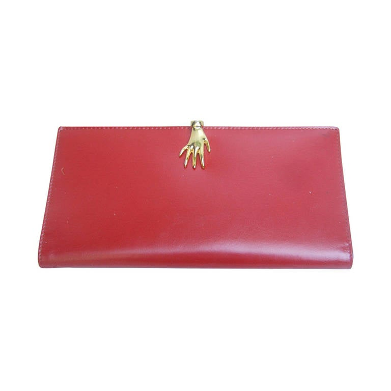 cd3c8e82314e GUCCI Cherry Red Leather Wallet with Gilt Metal Hand Clasp ca 1970s For Sale
