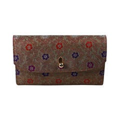 Elegant Silk Clutch with Ruby Clasp