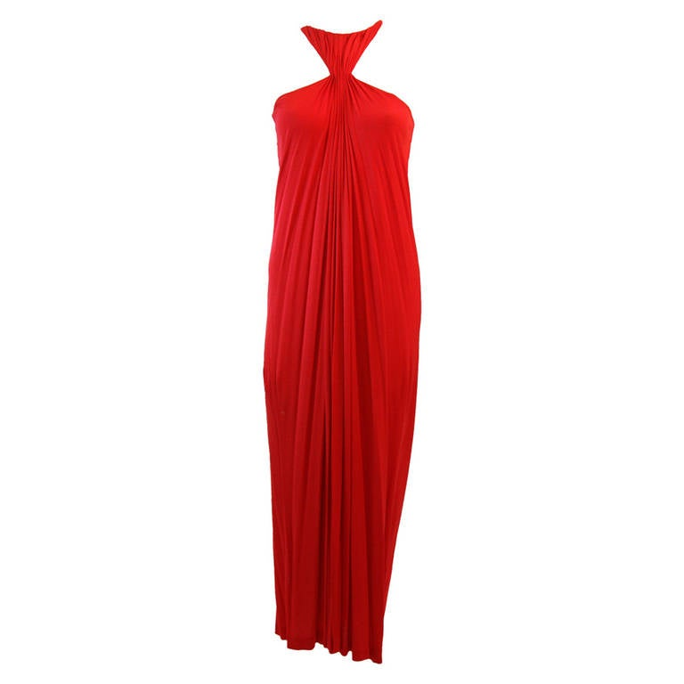 Gorgeous Red Jersey Dress with Gathers and Racer Style Halter