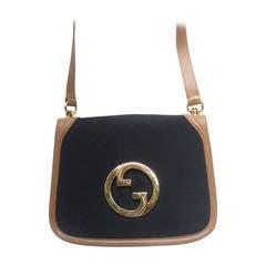 GUCCI Italy Black Canvas Blondie Shoulder Bag ca 1970