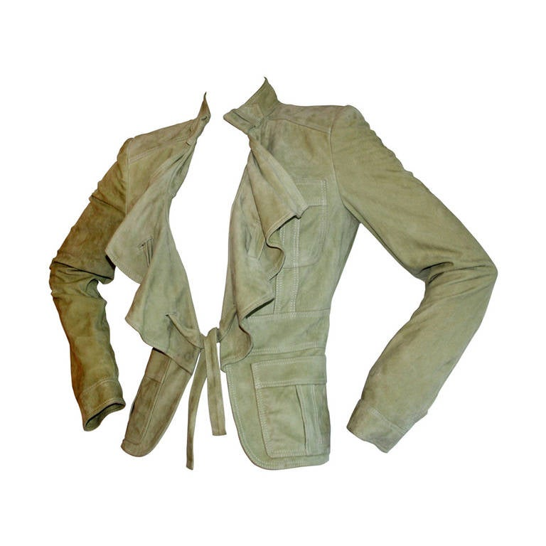 Tom Ford for Gucci Olive Khaki Suede Leather Jacket For Sale