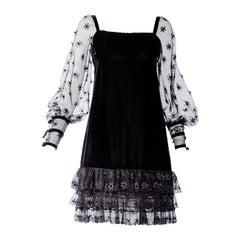 Haute Couture Christian Dior Vintage  Black Velvet Lace 1970s dress
