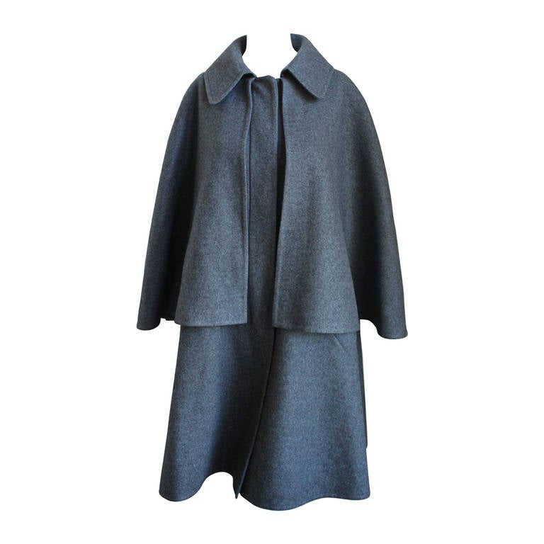 HERMES charcoal grey double faced cashmere cape coat - unworn For ...