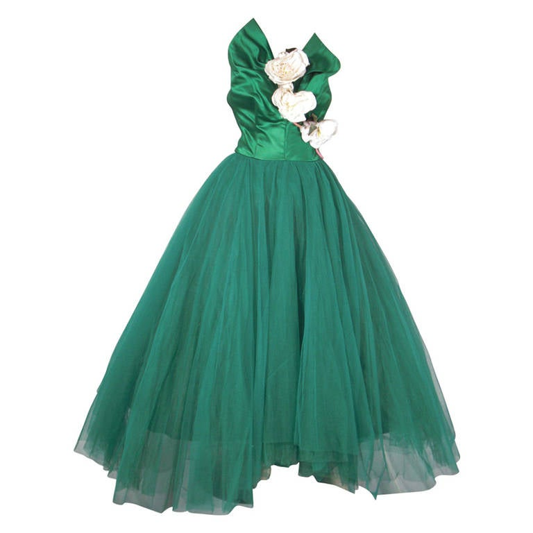 1950s Nanty of Paris Silk and Tulle Ball Gown with Floral Accents For Sale