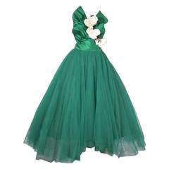 1950s Nanty of Paris Silk and Tulle Ball Gown with Floral Accents