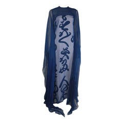 1970's Hanae Mori Blue and White Calligraphy Column with Chiffon Overlay