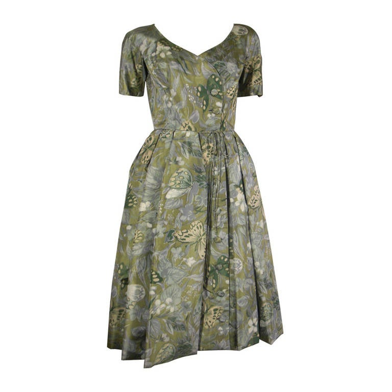 1950s Galanos Silk Print and Knife Pleat Cocktail Dress For Sale