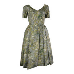 1950s Galanos Silk Print and Knife Pleat Cocktail Dress