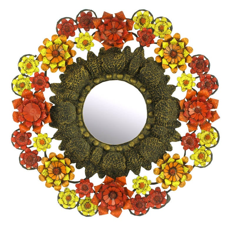 Artes De Mexico Mirror with Red, Yellow and Orange Tole Flower Surround For Sale