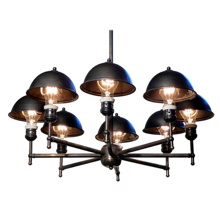 Impressive Eight-Lamp Greist Mini Hooded Chandelier For Sale