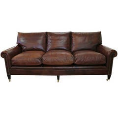 "George Smith Leather Sofa in ""American Chocolate"" Color"
