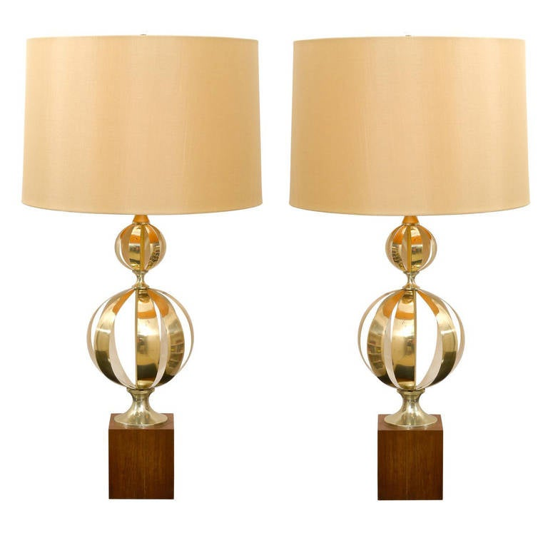 Exquisite Pair of Stacked Cut Brass Sphere Lamps
