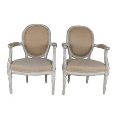 Pair of French Fauteuils in the Louis XVI Style