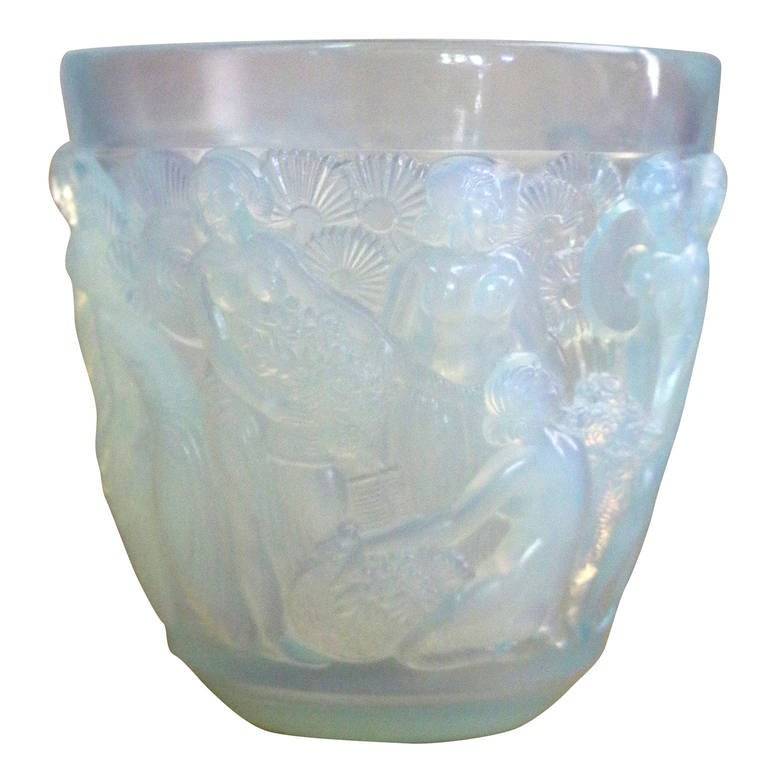 Art Deco Signed Sabino Opalescent Glass Vase of Goddesses in the Lalique Manner