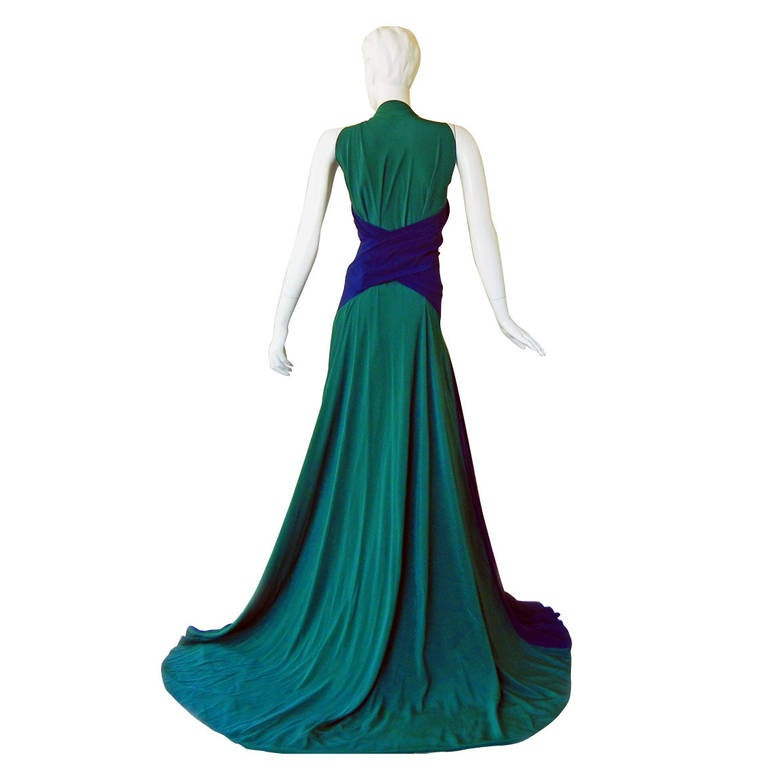 Vionnet Colorblock Emerald Green and Navy Silk Gown with Train at ...