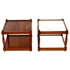 Pair of Reversible Walnut, Brass and Micarta Low Coffee Tables
