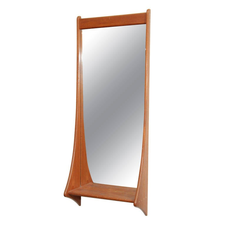 Danish Teak Wall Mirror with Shelf