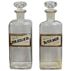 Set of 2 Large Apothecary Bottles