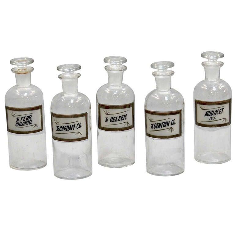 set of 6 medium apothecary bottles at 1stdibs