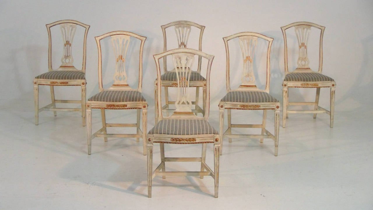 A Stunning Set Of Six Gustavian Style Dining Chairs In Original Paint And  Gold Gilt.