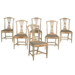 Set of Six Swedish Gustavian Style Dining Chairs in Original Paint and Gilt