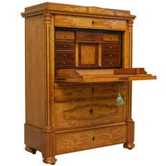 Biedermeier Birchwood and Satinwood Drop Front Secretaire