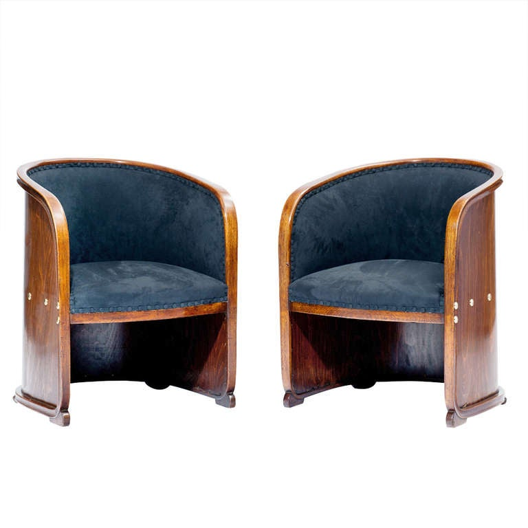 josef hoffmann two armchairs so called barrel chairs vienna secession at 1stdibs. Black Bedroom Furniture Sets. Home Design Ideas
