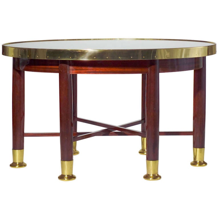 Yellow Marble Coffee Table: Adolf Loos / F. O. Schmidt / Large Oval Haberfeld Table