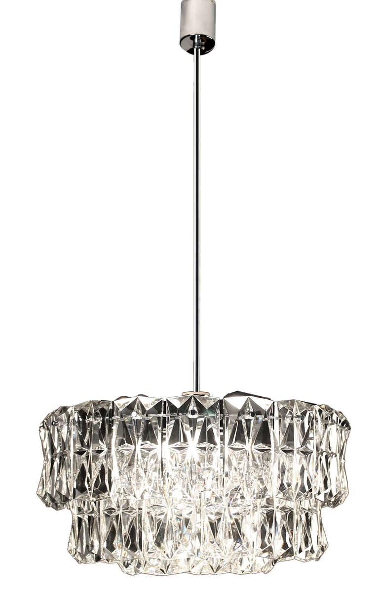19quot 3 tier kinkeldey crystal chandelier flush mount light for Flush mount crystal chandelier lighting