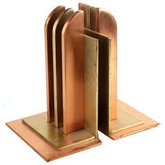 Pair of Art Deco Bookends by Walter Von Nessen for Chase, 1930s Modernist Design