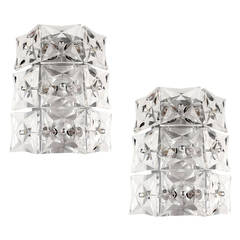 Pair of Large Kinkeldey Crystal Sconces Chrome Wall Fixtures Modernist Design