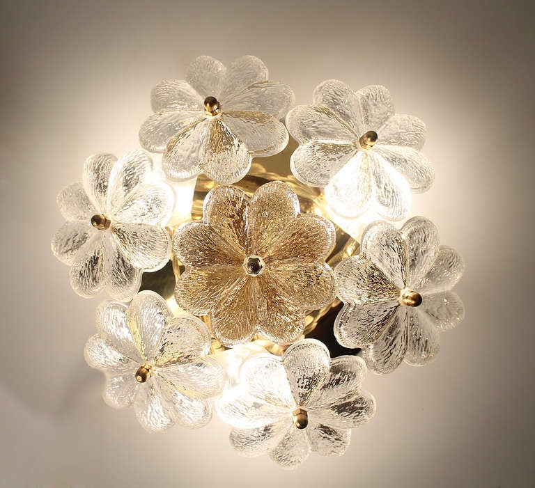 Glass Wall Sconces For Flowers : Pair of Sconces / Flush Mount Light Murano Glass Flowers Floral Ernst Palme at 1stdibs